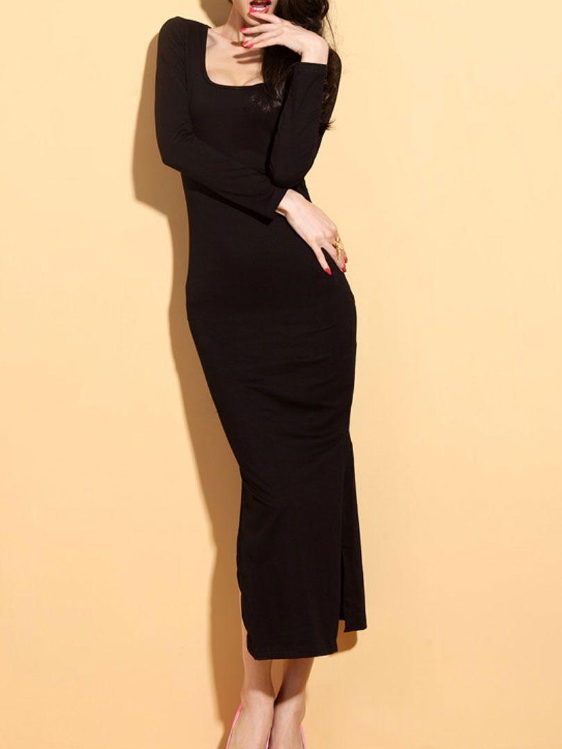 Black side slit long dress with backless choies cidudjessica