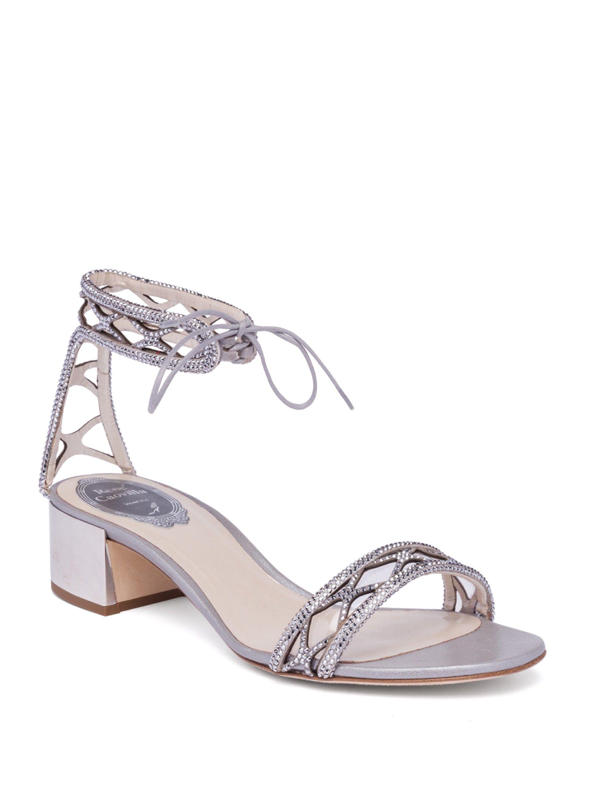 98336ca07a6 Rene Caovilla Crystal   Suede Ankle-Tie Block Heel Sandals - Silver 37.5  (7.5)