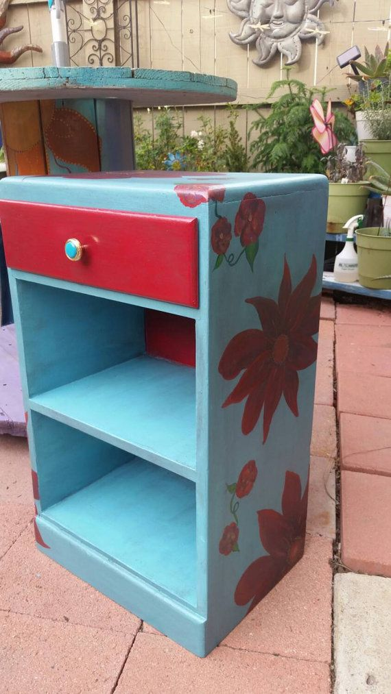 Turquoise And Red Floral Painted Table  End Table  Night Stand  Funky  Painted Furniture
