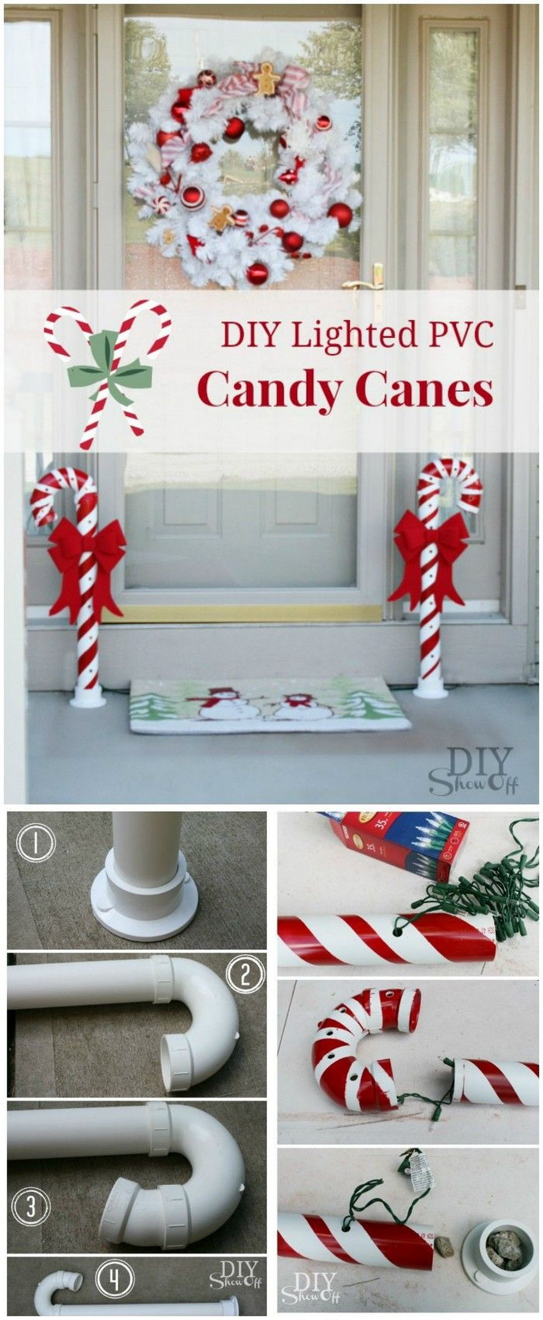 How To Make A Lighted Pvc Candy Cane Decoration Christmas Decorations Diy Outdoor Christmas Decor Diy Outdoor Christmas Diy