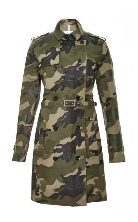 Waxed Cotton Canvas Camouflage Trench Coat By Valentino