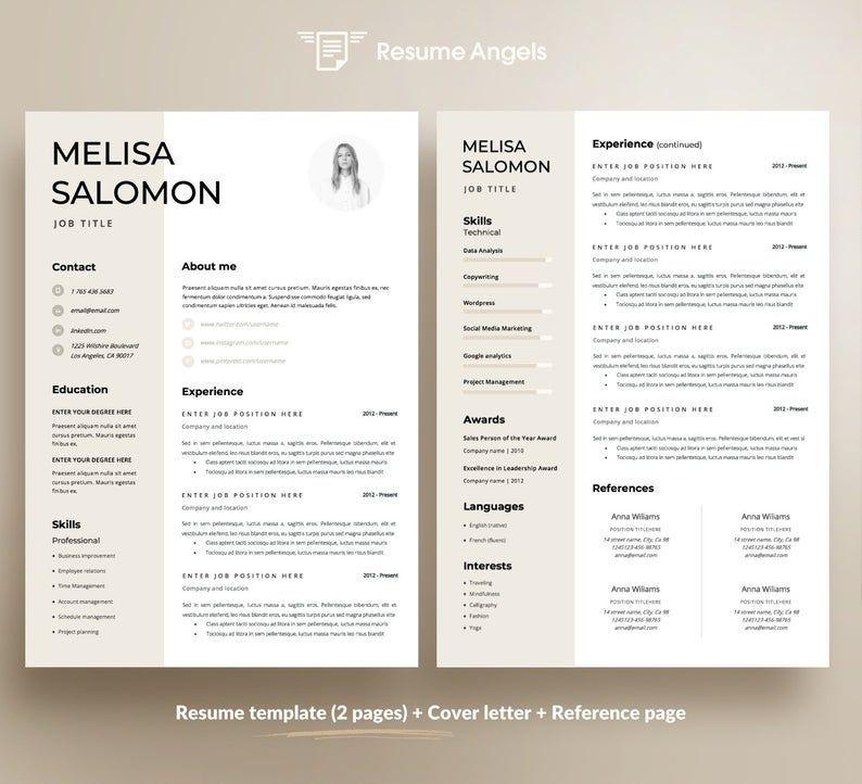 Resume Template Cv Template Resume Cv Design Teacher Etsy Nel 2020 Modello Cv Curriculum Vitae Curriculum Creativo