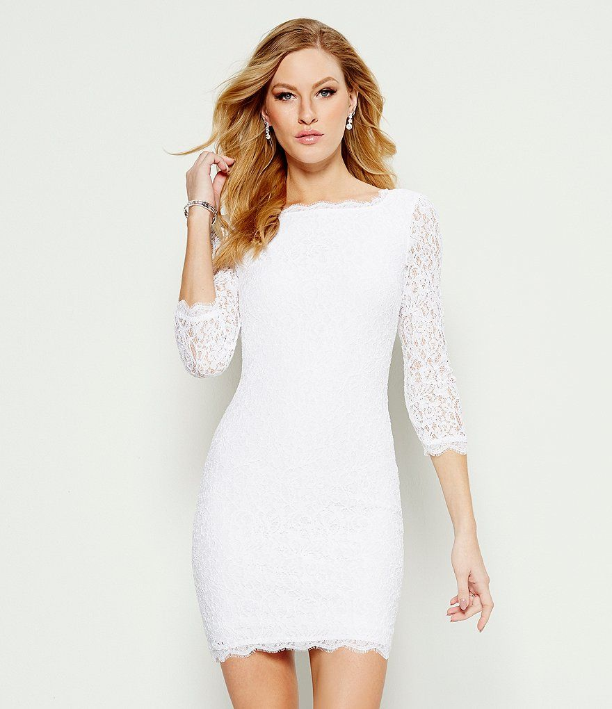 Best affordable wedding dress shops london  Adrianna Papell Scalloped Lace Sheath Dress  Lace sheath dress