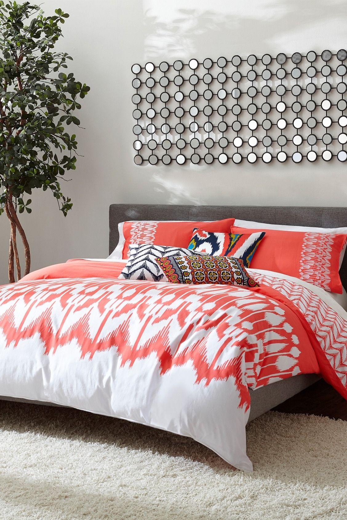 Trina Turk Hollyhock Ikat Duvet 3 Piece Set Coral White In