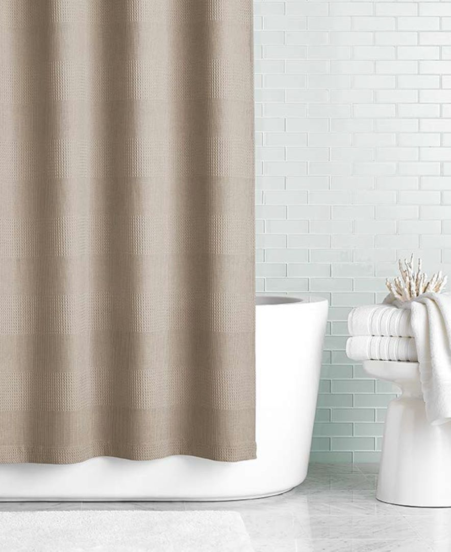 Hotel Collection 72 X 84 Waffle Knit Linen Shower Curtain Only