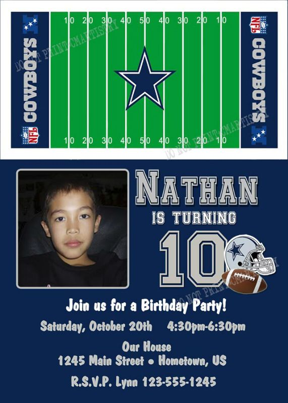 Dallas Cowboys Ticket Birthday Party Invitations Printable – Dallas Cowboys Birthday Invitations