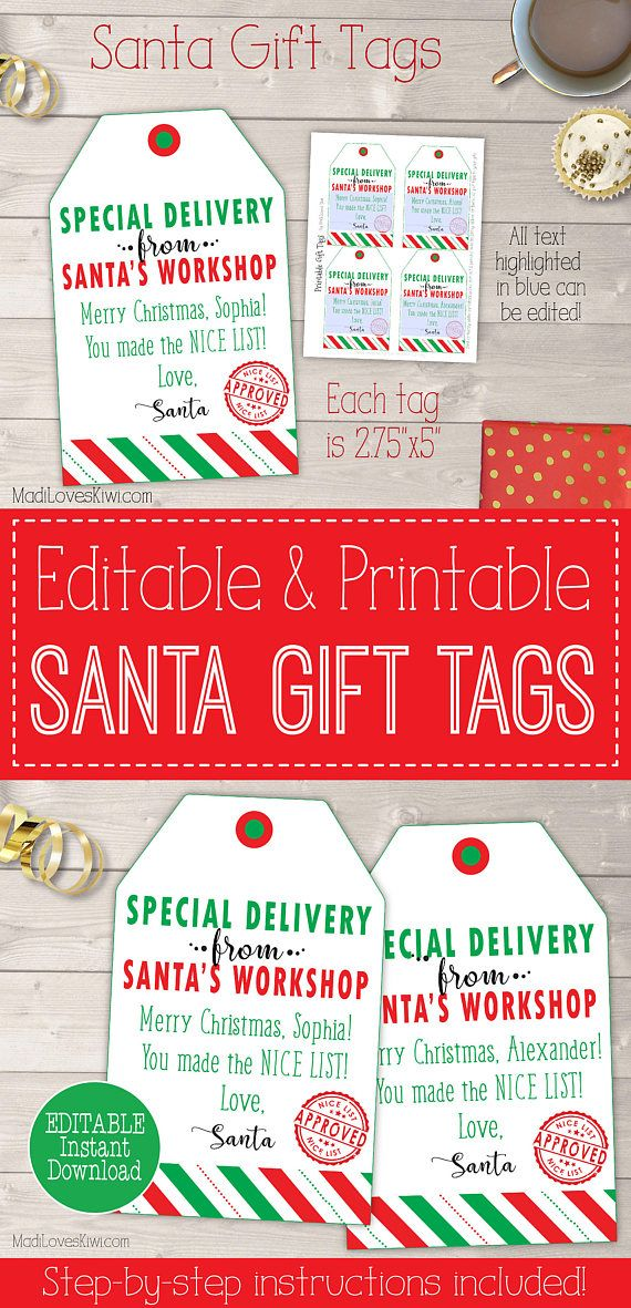 Make santa come to life in the hearts of your children with these personalized christmas gift tags printable santa gift tags personalized santa tags printable personalized christmas tags from santa negle Choice Image