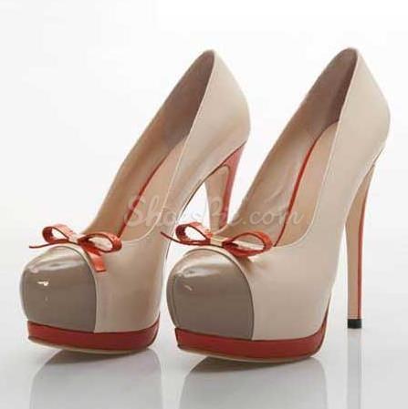 Fashion Platform Stiletto Heel Round-toe Heels