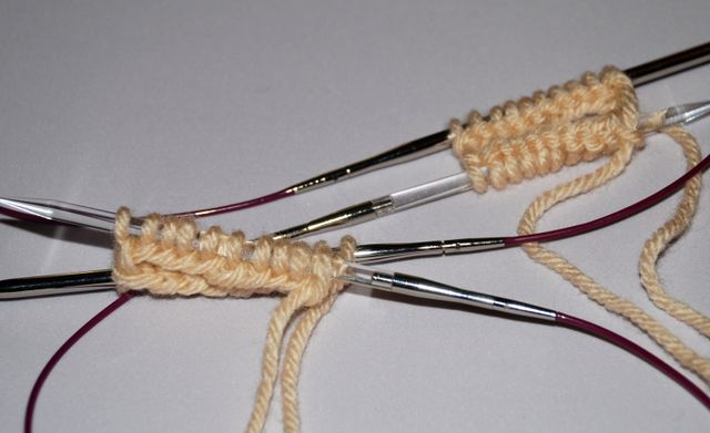 Knit Two Socks at a Time on Two Circular Needles: Casting On the Second Sock
