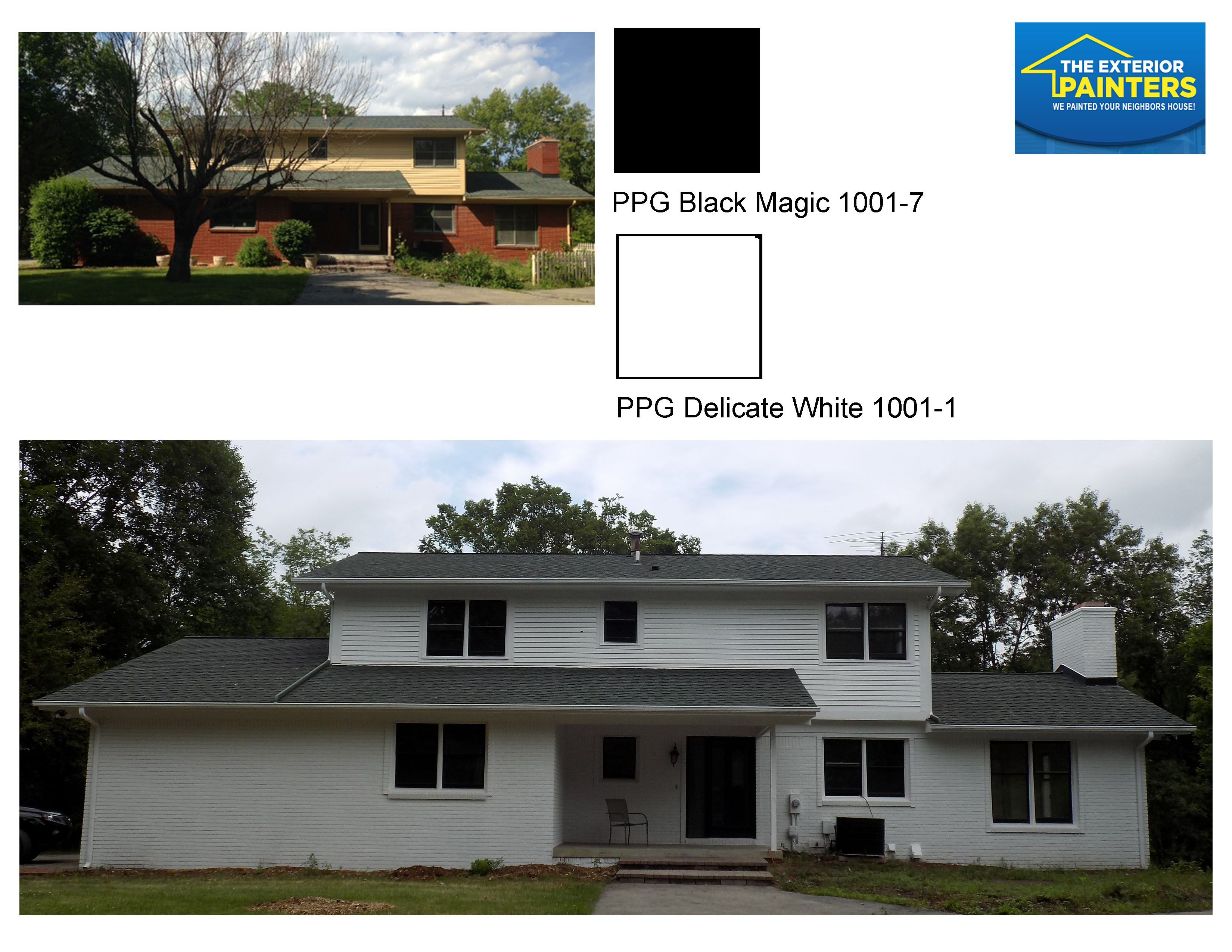 Painted Brick And Siding In Ppg 1001 1 Delicate White With Ppg 1001 7 Black Magic For The Accent Painted Brick Exterior Painters Exterior Paint Colors
