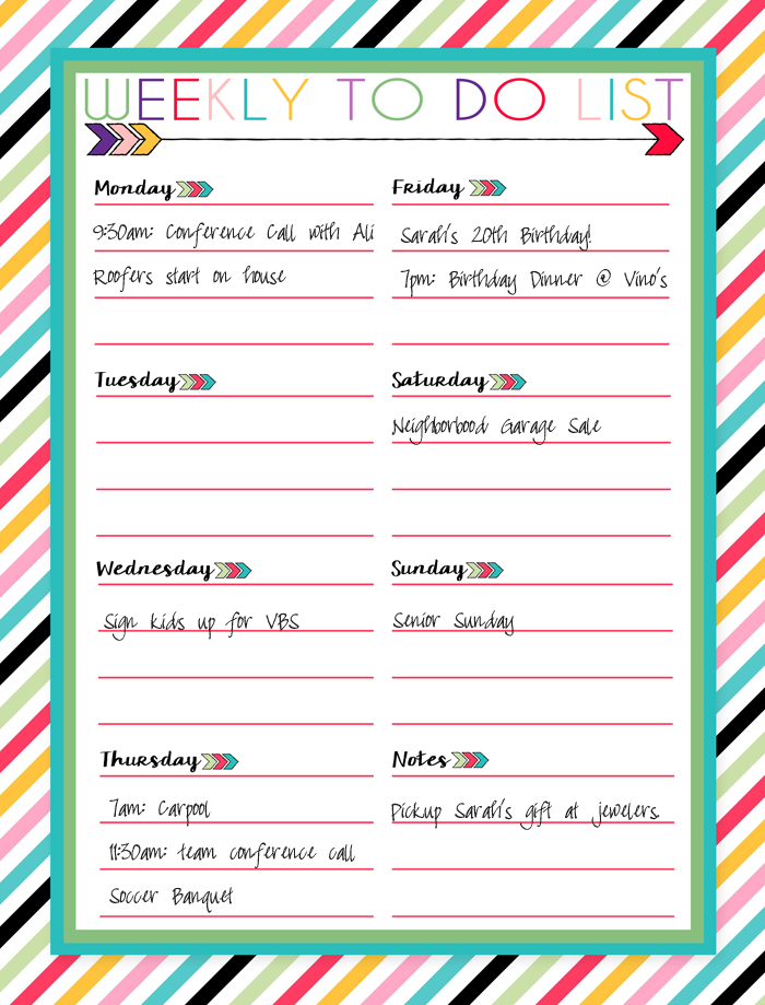 Weekly To Do Calendar : Free printable daily weekly and monthly calendars