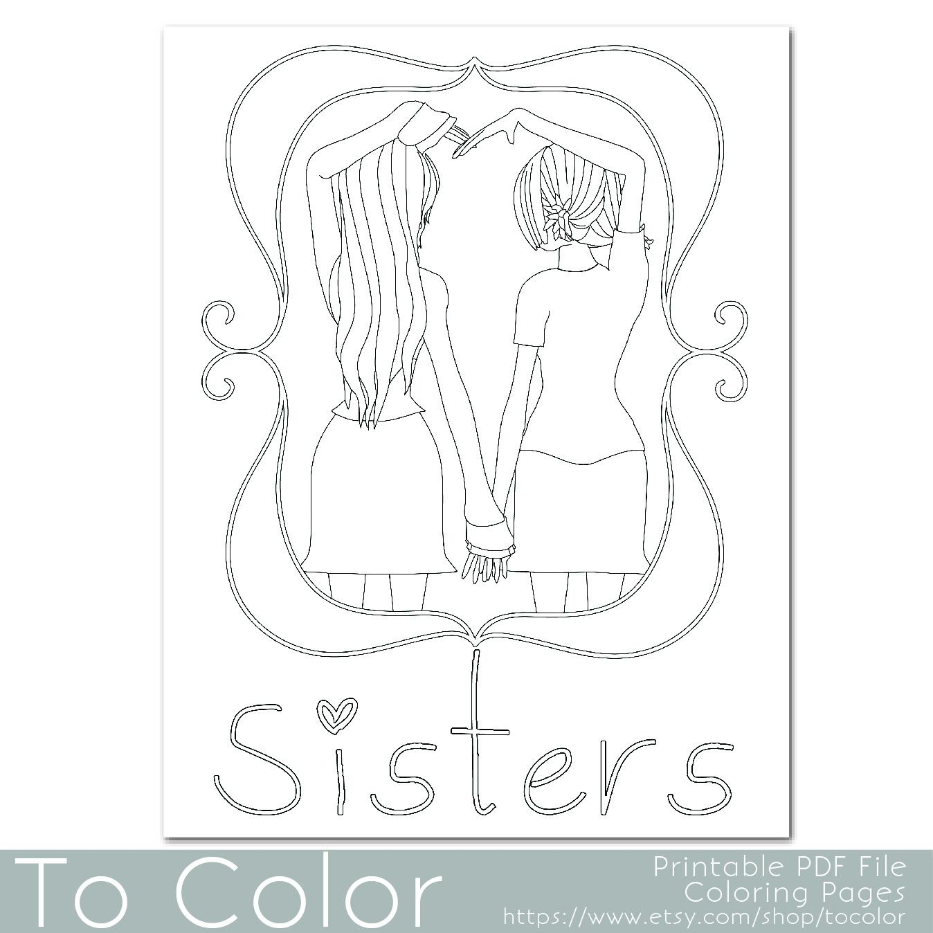 This Coloring Page Features Two Girls Holding Hands To Make A
