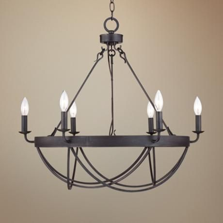 Lyster Square 28 Wide Oil Rubbed Bronze Chandelier Dining Room