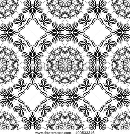 Black and white seamless texture, tribal boho decorative ornament. Folk floral…