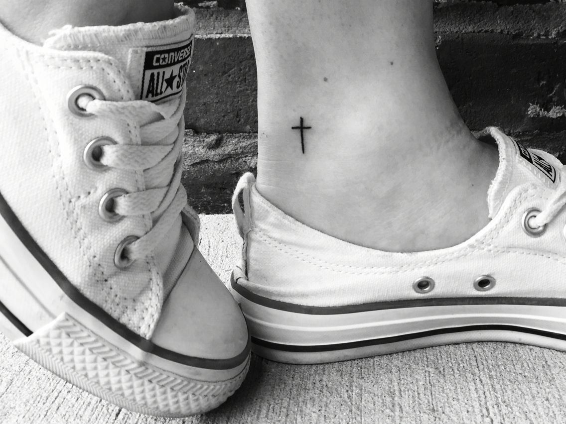 Small dainty cross tattoo love the placement tattoos