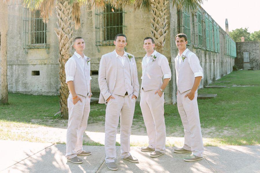 Groomsmen In Tan Suits During Summer Wedding Myrtle Beach SC