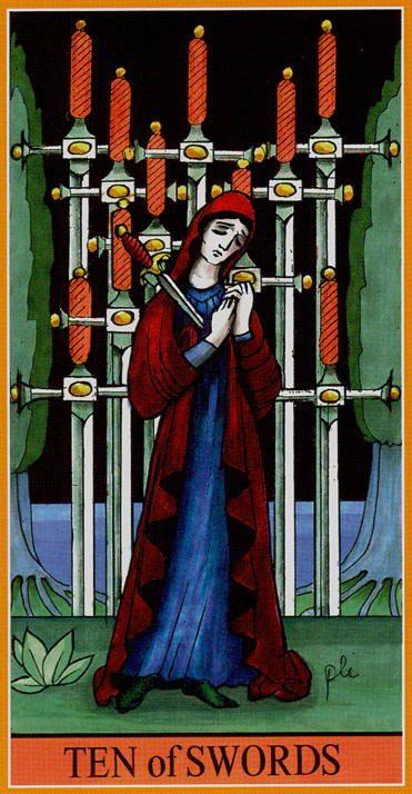 10 Of Swords Dame Fortunes Wheel Tarot Wandsclubs Pinterest