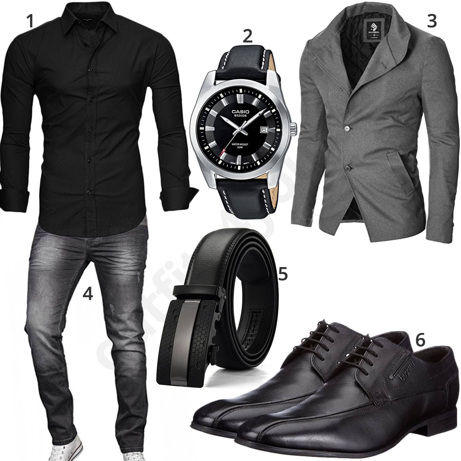 schwarz grauer business style f r m nner business outfit. Black Bedroom Furniture Sets. Home Design Ideas