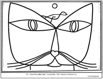 Klee Paul Cat And Bird Coloring Page And Lesson Plan Ideas