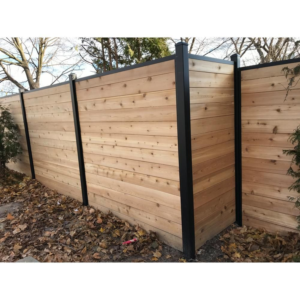 Slipfence 81 In X 1 1 4 In X 1 1 4 In Black Aluminum Fence Channels For 7ft High Fence 2 Per Pack Includes Screws Sf2 Hck07 The Home Depot In 2020 Diy Backyard Fence