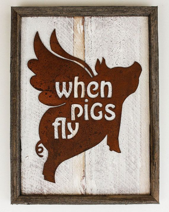 Rustic Home Decor Flying Pig \when Pigs Fly\ Reclaimed Wood Metal Rhpinterest: Pig Home Decor At Home Improvement Advice