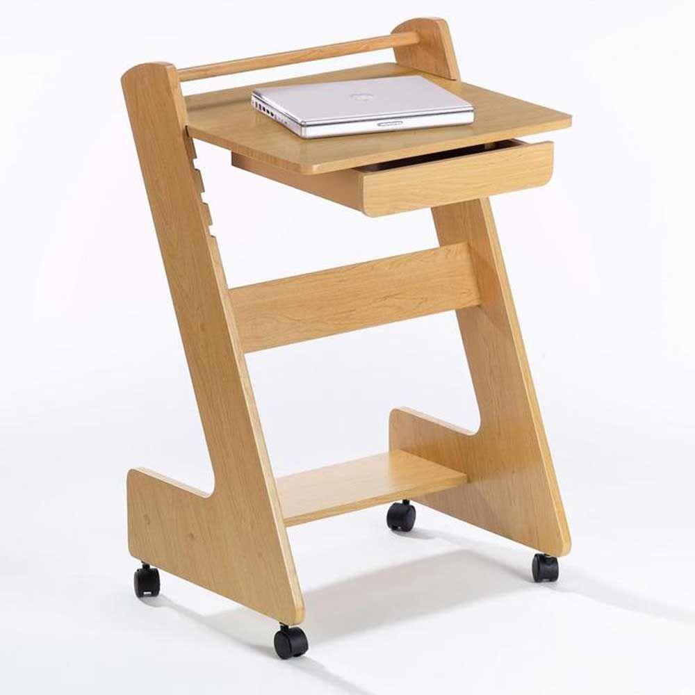 Rolling Solid Wood Z Mobile Laptop Workstation