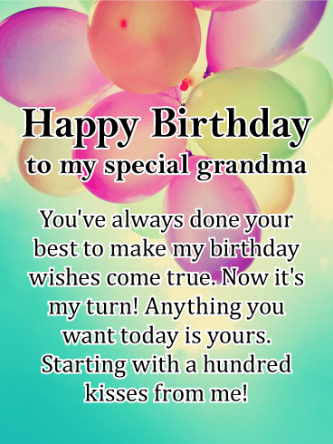 A Hundred Kisses Happy Birthday Card For Grandmother While Your