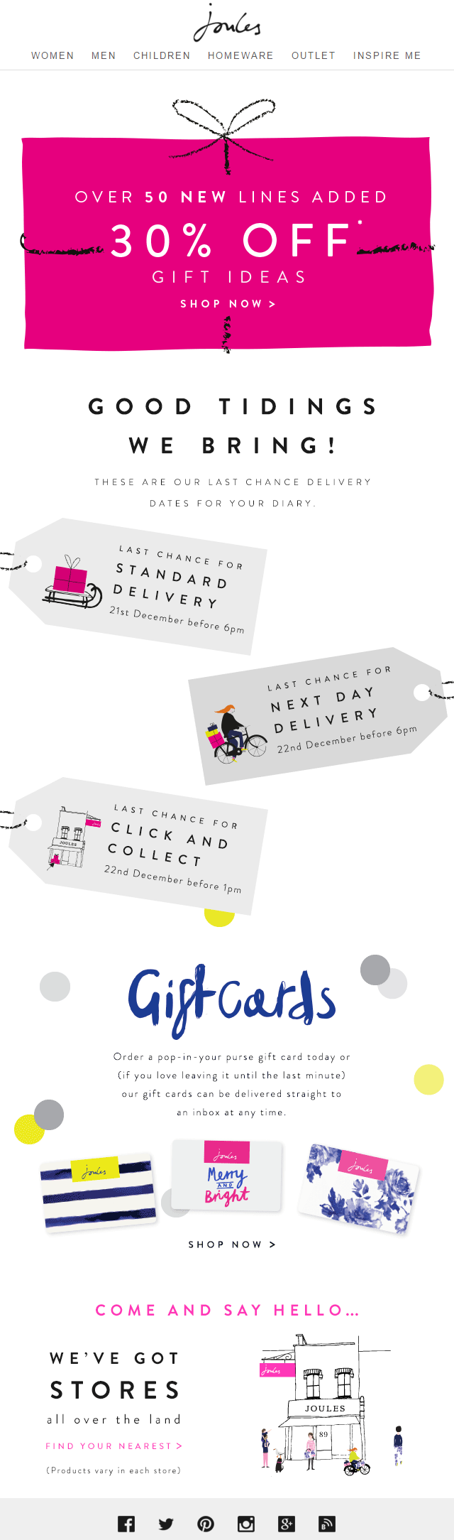Joules Christmas Shipping Email 30 Off Gift Ideas Christmas Marketing Typography Hand Drawn Gifts