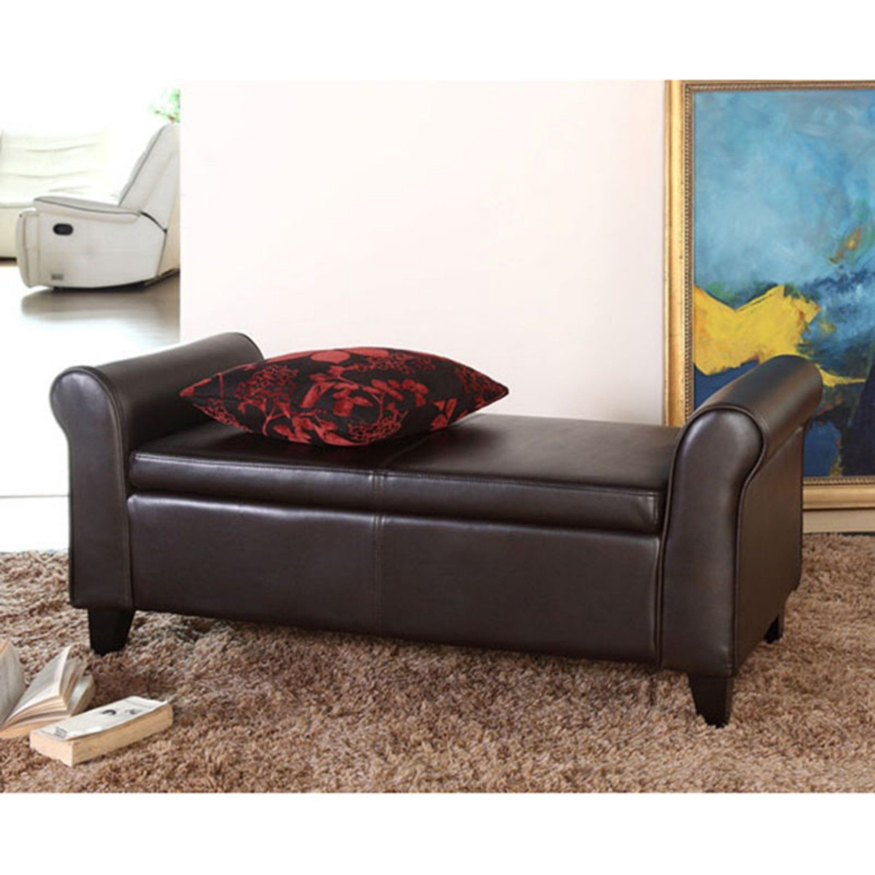 Cool Abbyson Terna Nely Bonded Leather Storage Ottoman Bench Caraccident5 Cool Chair Designs And Ideas Caraccident5Info
