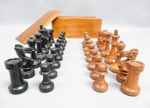 Superb-Vintage-1950s-60s-Spanish-Rosewood-Box-Chess-Pieces