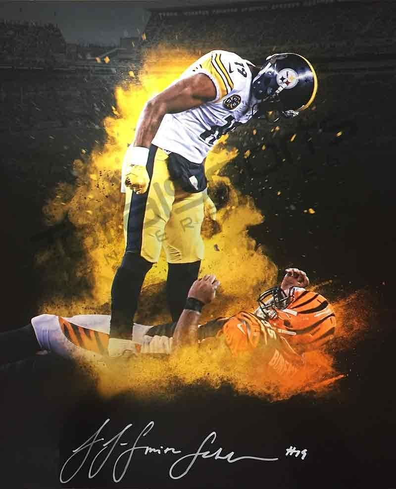 best sneakers aaf3f 65973 JuJu Smith-Schuster Signed Custom Over Burfict Explosion ...