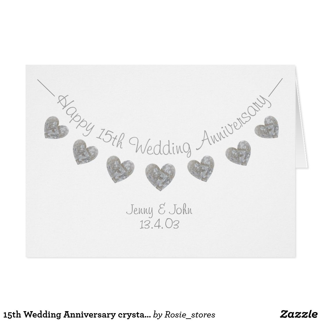 Crystal Gifts For 15th Wedding Anniversary: 15th Wedding Anniversary Crystal Hearts Card