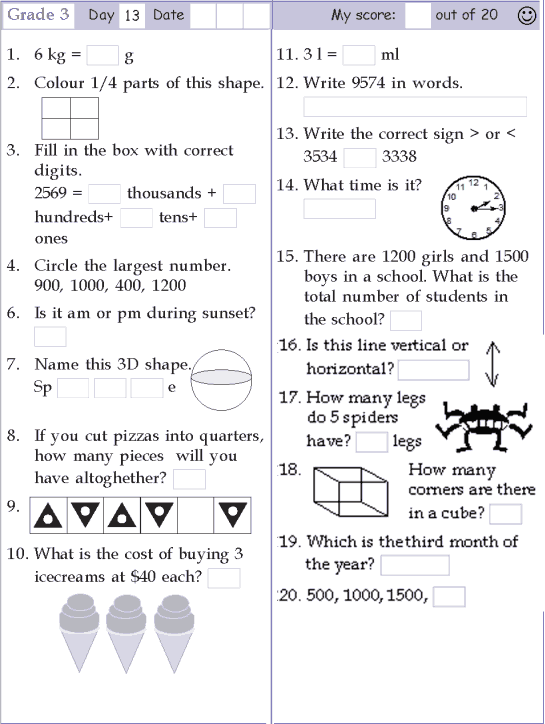 math worksheet specifically used for children at grade 3 ...