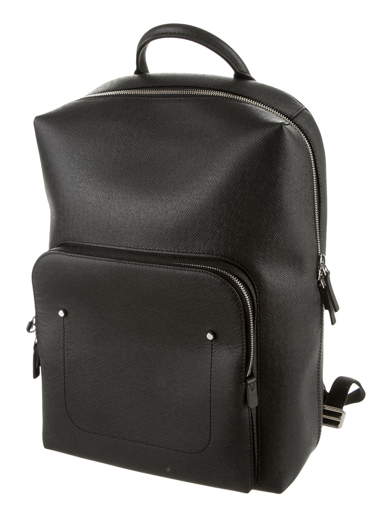 c9919b4ee Men's black Taiga leather Louis Vuitton Grigori backpack with silver-tone  hardware, zip pocket