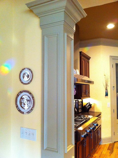 Awesome Moldings On The Column Small Basement Remodel