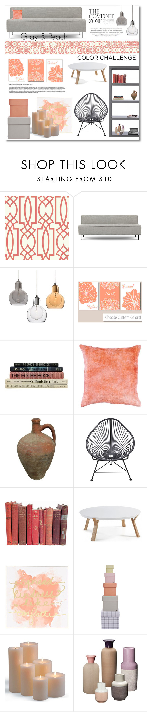 """""""Color Challenge: Gray & Peach"""" by anitadz ❤ liked on Polyvore featuring interior, interiors, interior design, home, home decor, interior decorating, Gubi, Innit, HAY and Frontgate"""