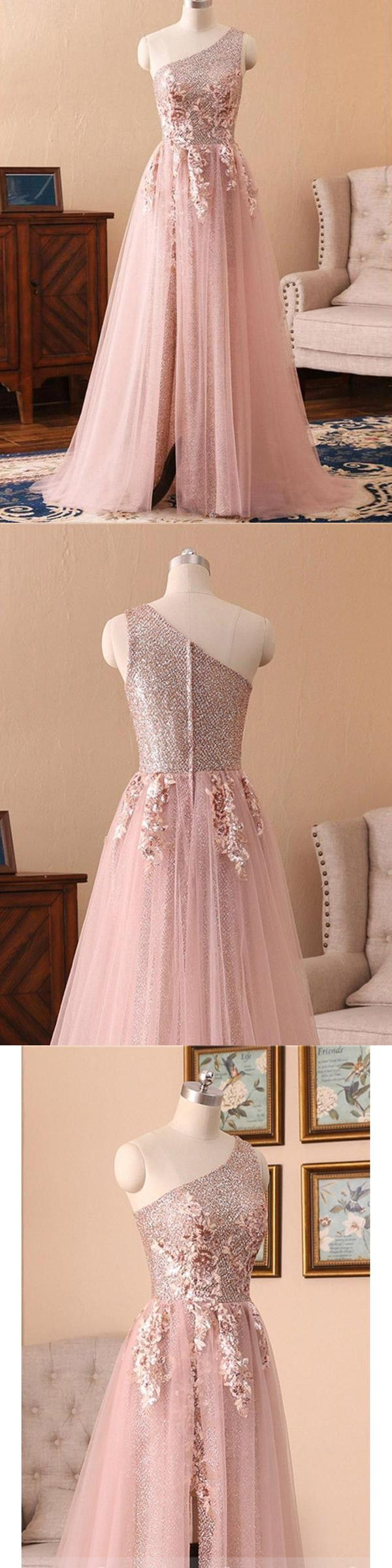 Chic Aline One Shoulder Sparkly Prom Dress Floor Length Prom
