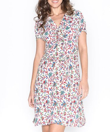 Take a look at this Mahal: White Printed Ruched Dress by Mahal on #zulily today!