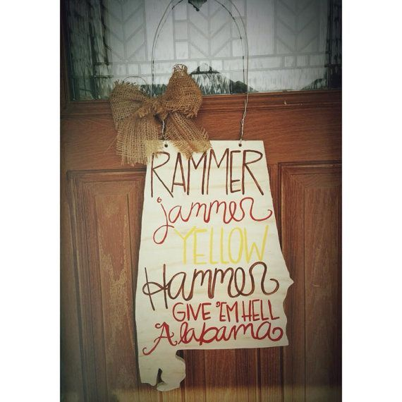 Wooden door hanger Shape of the state of Alabama Rammer Jammer text Wire hanger Burlap bow Can be customized.  sc 1 st  Pinterest & Alabama state door hangers | ... .etsy.com/listing/161143555 ...