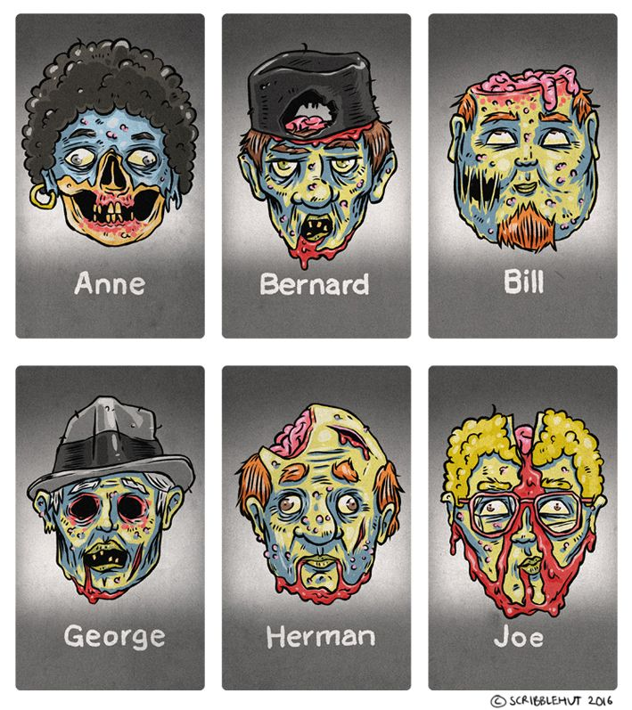 A fun project that involved creating zombie versions of the classic Guess Who characters