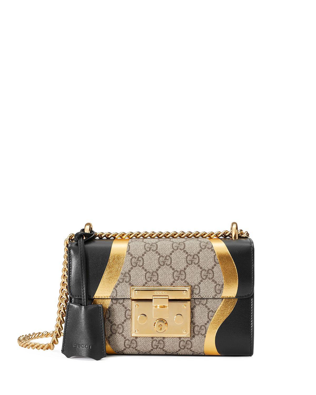 0bed364eb63a57 Small Padlock Chain Shoulder Bag Black Pattern | Handbag Obsession