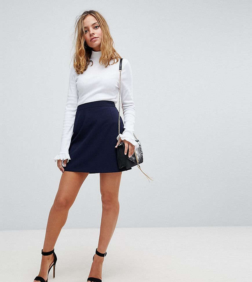 7b6ed7f0285 ASOS PETITE Tailored A-Line Mini Skirt - Navy A Line Skirt Outfits