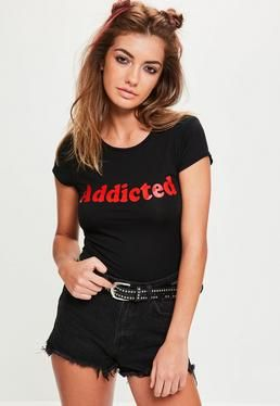 1cc61a364a5a0 Black Addicted Slogan Short Sleeve Crop Tshirt   SLOGANS   Pinterest
