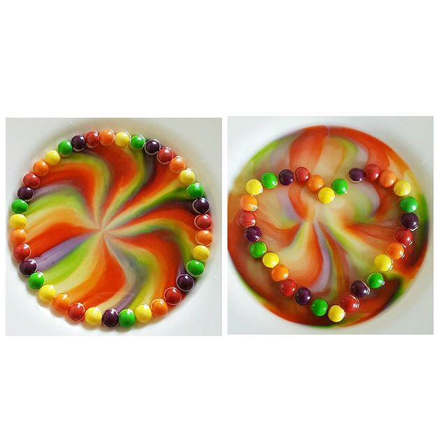 My Skittles Rainbow By Amourducake I Did An Experiment With - Pouring hot water on skittles creates a magical rainbow