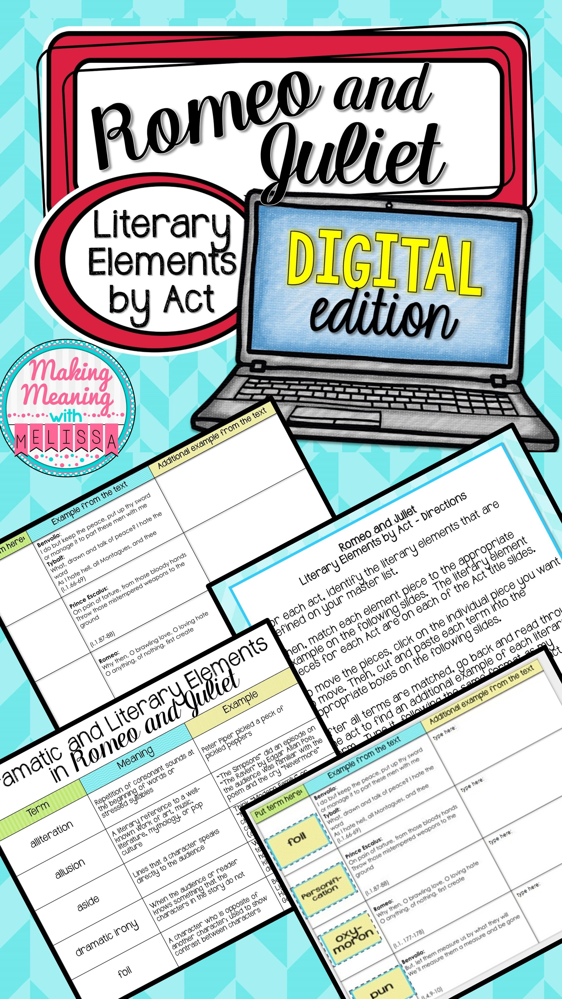 hight resolution of Romeo and Juliet Act I - Literary Elements - PAPERLESS   Romeo and juliet