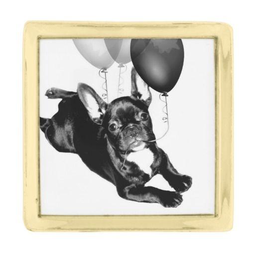 Birthday French Bulldog Gold Finish Lapel Pin