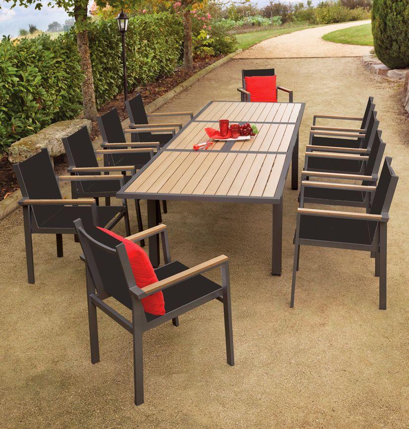 Salon de jardin Blossac 1 table + 10 fauteuils sur Jardindeco   Tables