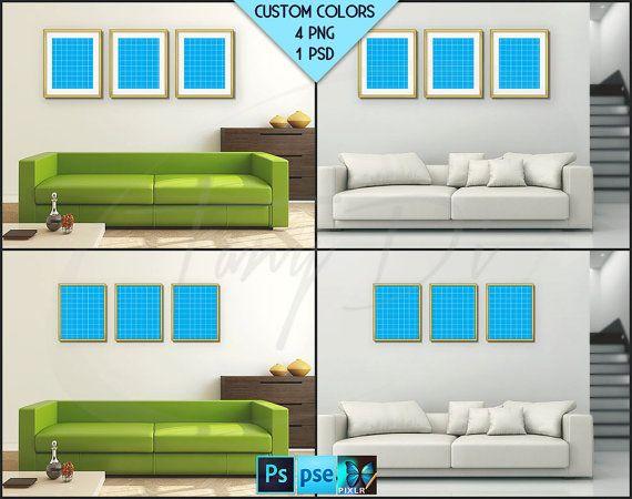 Living Room Interior #R03 U2022 Photoshop Mockup U2022 8x10 Set Of 3 Fine Gold  Portrait