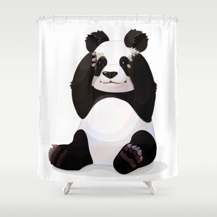 Cute Big Panda Bear Shower Curtain Panda Bear Big Panda Floral