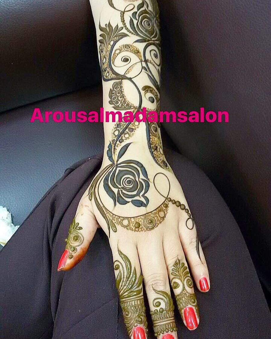 242 Likes 4 Comments Arous Al Madam Ladies Saloon Arousalmadamsalon On Instagram Arousalma Rose Mehndi Designs New Mehndi Designs Mehndi Design Images